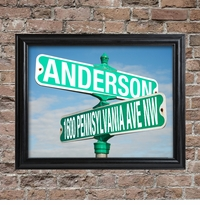 Personalized Color Street Sign Framed Print