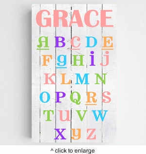 Personalized Colorful Kids Canvas Sign-ABC's - click to enlarge