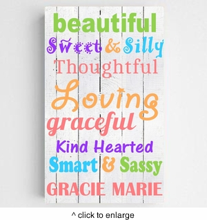 Personalized Colorful Kids Canvas Sign-Beautiful - click to enlarge