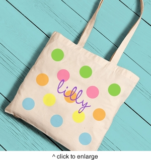 Personalized Colorful Polka Dots Girl Canvas Tote - click to enlarge