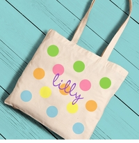 Personalized Colorful Polka Dots Girl Canvas Tote