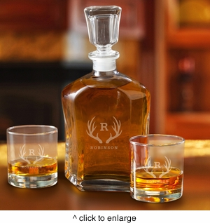 Personalized Decanter Set with 2 Low ball Glasses for Groomsmen - click to enlarge