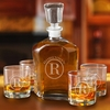 Personalized Decanter set with 4 Low Ball Glasses - click to enlarge