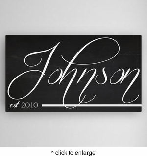 Personalized Family Calli Chalkboard Canvas Sign - click to enlarge