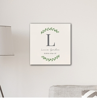 Personalized Family Initial Vine 18x18 Canvas Signs