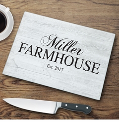 Personalized Family Modern Farmhouse Glass Cutting Board