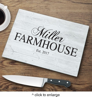 Personalized Family Modern Farmhouse Glass Cutting Board - click to enlarge