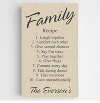 Personalized Family Recipe Canvas Sign-Chic Linen Finish