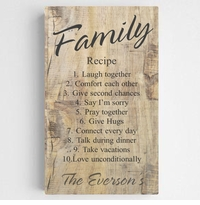 Personalized Family Recipe Canvas Sign - Rustic Wood