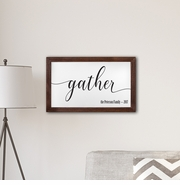 """Personalized Framed Gather Modern Farmhouse 14"""" x 24"""" Canvas Sign"""