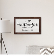 """Personalized Framed Welcome To our Home Modern Farmhouse 14"""" x 24"""" Canvas"""