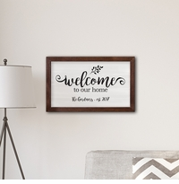 "Personalized Framed Welcome To our Home Modern Farmhouse 14"" x 24"" Canvas"