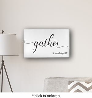 "Personalized Gather Modern Farmhouse 14"" x 24"" Canvas Sign - click to enlarge"