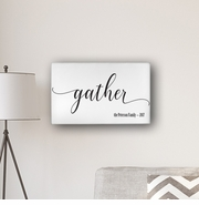 "Personalized Gather Modern Farmhouse 14"" x 24"" Canvas Sign"