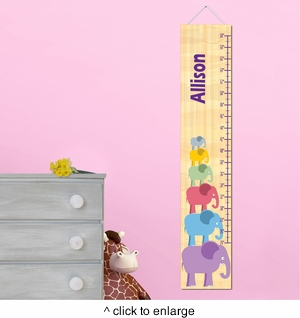 Personalized Girl Elephant Growth Chart - click to enlarge