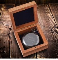 Personalized Gunmetal Keepsake Compass with Wooden Box