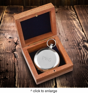 Personalized High Polish Silver Keepsake Compass with Wooden Box  - click to enlarge