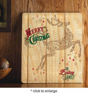 Personalized Holiday Wood Art Sign - Vintage Reindeer - click to enlarge