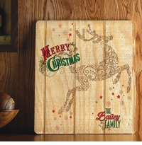 Personalized Holiday Wood Art Sign - Vintage Reindeer