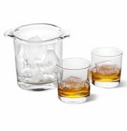 Personalized Ice Bucket with set of 2 Lowball Glasses