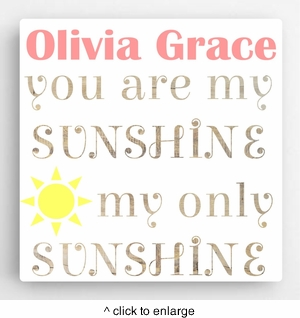 Personalized Kids Canvas Sign-Sunshine - click to enlarge