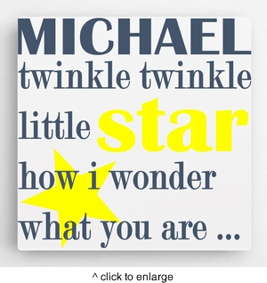 Personalized Kids Canvas Sign-Twinkle - click to enlarge