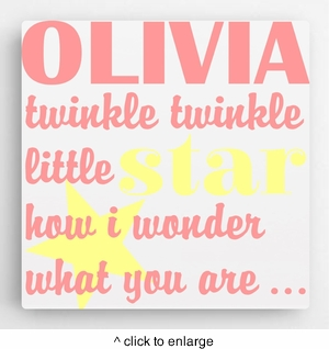 Personalized Kids Canvas Sign-Twinkle(Girl)  - click to enlarge