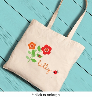 Personalized Ladybug Girl Canvas Tote - click to enlarge