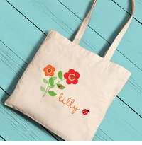 Personalized Ladybug Girl Canvas Tote