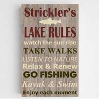 Personalized Lake Rules Canvas Sign-Brown Background