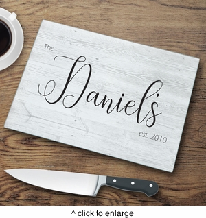 Personalized Last Name Modern Farmhouse Glass Cutting Board - click to enlarge