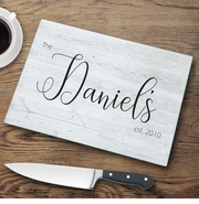 Personalized Last Name Modern Farmhouse Glass Cutting Board