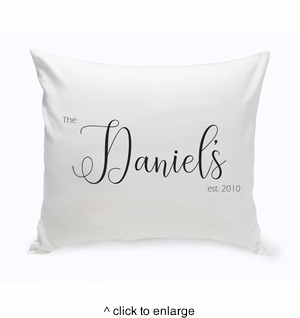 Personalized Last Name Modern Farmhouse Throw Pillow - click to enlarge