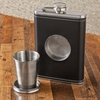 Personalized 8oz Leather Flask with Folding Shot Glass - click to enlarge