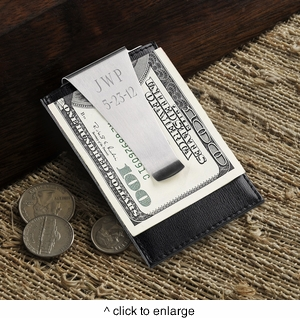 Personalized Leather Money Clip/Credit Card Holder - click to enlarge