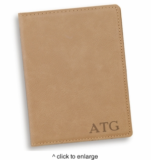 Personalized Light Brown Passport Holder - click to enlarge