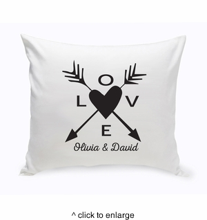 Personalized Love Arrow Throw Pillow - click to enlarge