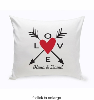 Personalized Love Arrows Throw Pillow - click to enlarge