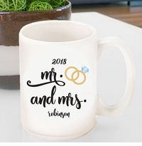 Personalized Mr. & Mrs. Wedding Ring Coffee Mug