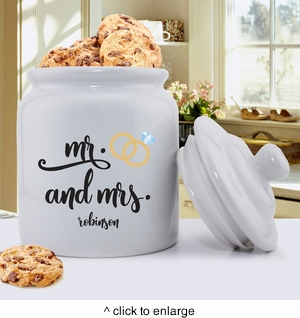 Personalized Mr. & Mrs. Wedding Ring Cookie Jar - click to enlarge