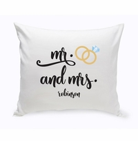 Personalized Mr. & Mrs. Wedding Throw Pillow