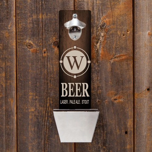 New personalized wall mounted bottle opener and cap catcher designs foreverwed supply co - Wall mounted beer bottle opener cap catcher ...