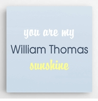 Personalized Pastel Kids Canvas Sign-Blue