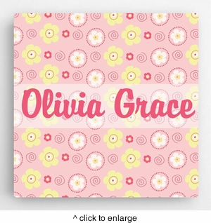 Personalized Pattern Kids Canvas Sign-Girl - click to enlarge