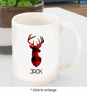 Personalized Plaid Deer Coffee Mug - click to enlarge