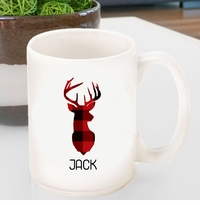 Personalized Plaid Deer Coffee Mug