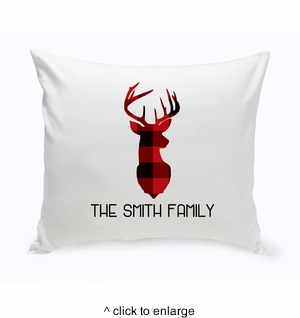Personalized Red & Black Plaid Deer Throw Pillow - click to enlarge