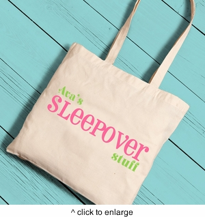 Personalized Sleepover Girl Canvas Tote - click to enlarge
