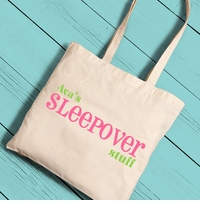 Personalized Sleepover Girl Canvas Tote