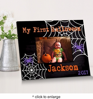 Personalized Spider Web Halloween Picture Frame - click to enlarge